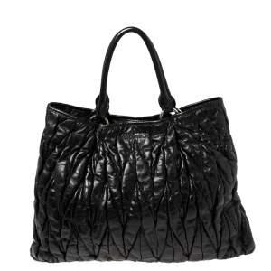 Miu Miu Black Glazed Matelassé Leather Tote