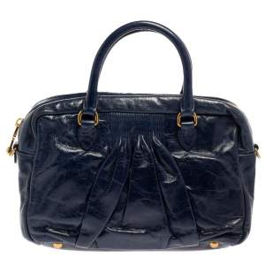 Miu Miu Navy Blue Glazed Pleated Leather Zip Satchel