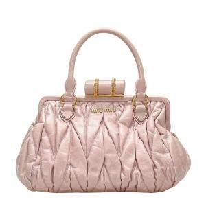 Miu Miu Pink/Light Pink Leather Coffer Top Handle Bag