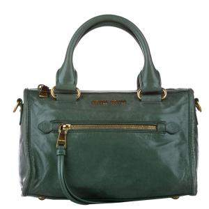 Miu Miu Green Vitello Shine Leather Bauletto Satchel Bag