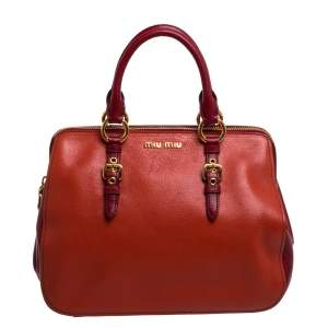 Miu Miu Orange/Red Madras Leather Zip Satchel