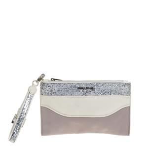 Miu Miu Lilac/White Glitter Leather Wristlet Pouch