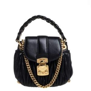 Miu Miu Black Matelasse Leather Coffer Charm Chain Bag