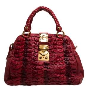 Miu Miu Red Leather Dome Bag