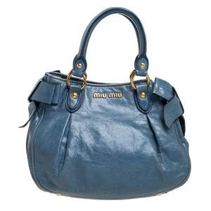 Miu Miu Blue Vitello Lux Leather Bow Satchel