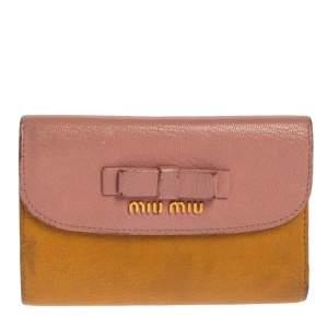 محفظة فرنش ميو ميو فيونكة جلد وردي/ أصفر