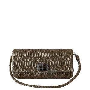 Miu Miu Brown Matelassé Leather Crystal-Embellished Bag