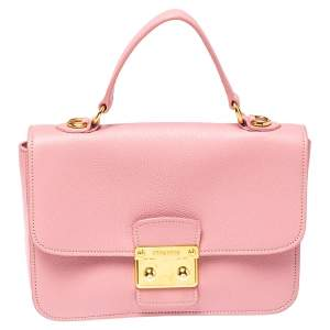 Miu Miu Pink Madras Leather Push Lock Flap Top Handle Bag