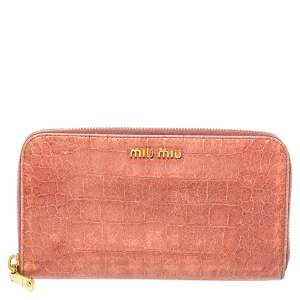 Miu Miu Peach Croc Embossed Leather Zip Around Wallet