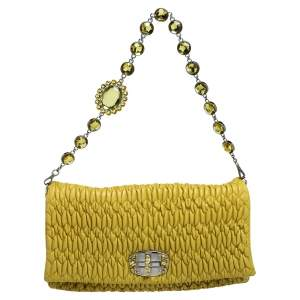 Miu Miu Yellow Matelasse Nappa Leather Crystal Shoulder Bag