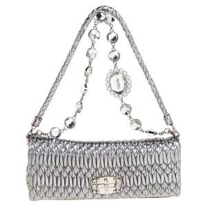 Miu Miu Metallic Silver Matelasse Leather Crystal Shoulder Bag
