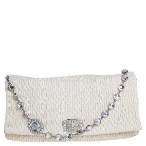 Miu Miu Off White Matelasse Nappa Leather Large Crystal Shoulder Bag
