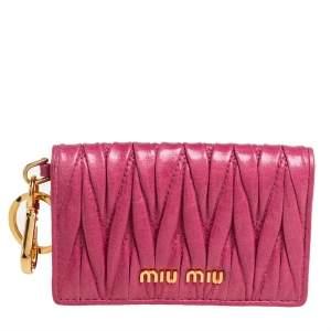 Miu Miu Fuchsia Matelasse Leather Card Case