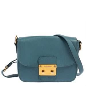 Miu Miu Blue Madras Leather Pushlock Flap Shoulder Bag