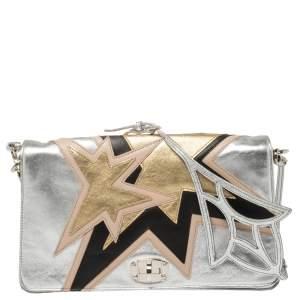 Miu Miu Silver Leather Mini Star Motif Diagonal Shoulder Bag