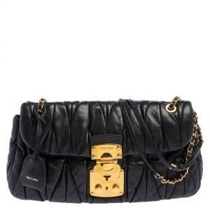 Miu Mu Black Matelasse Leather Flap Shoulder Bag