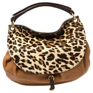 Miu Miu Tan/Beige Leopard Print Calfhair and Leather Flap Hobo