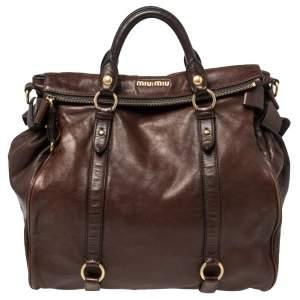 حقيبة ميو ميو جلد فيتيلو لوكس بني بفيونكة جانبية