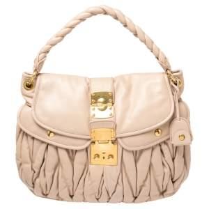 Miu Miu Powder Pink Matelasse Leather Coffer Hobo