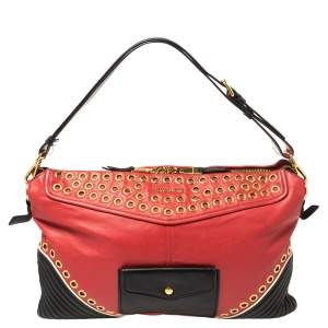 Miu Miu Red/Black Leather Grommeted Biker Shoulder Bag
