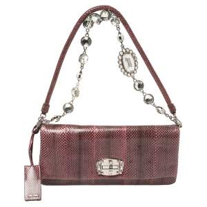 Miu Miu Purple Snakeskin Crystal Shoulder Bag