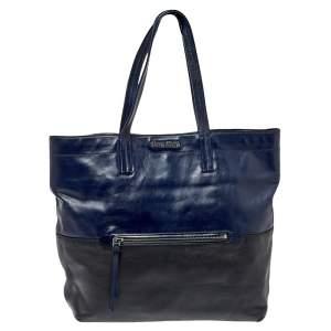 Miu Miu Blue/Black Vitello Soft Leather Shopper Tote