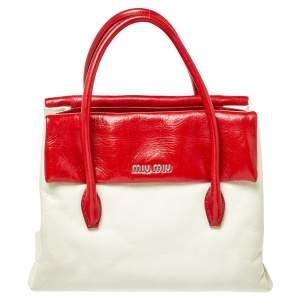 Miu Miu Red/Cream Vitello Shine Leather Double Flap Tote