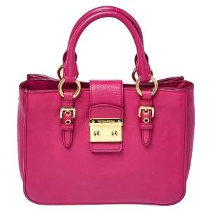 Miu Miu Fuchsia Madras Leather Tote