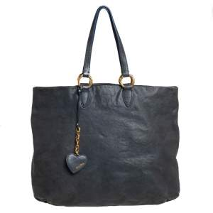 Miu Miu Dark Grey Leather Shopper Tote