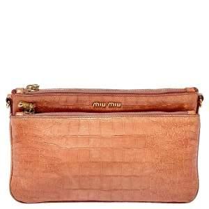 Miu Miu Pink Croc Embossed Leather Crossbody Bag