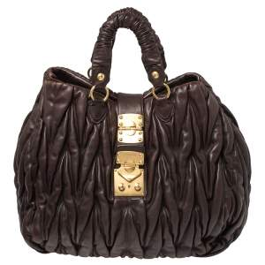 Miu Miu Chocolate Brown Matelasse Leather Large Shopper Tote