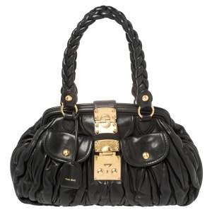Miu Miu Black Matelasse Leather Frame Satchel