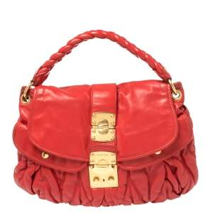 Miu Miu Red Matelasse Lux Leather Coffer Hobo