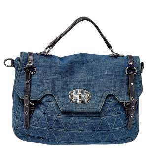 Miu Miu Blue Quilted Denim and Leather Paloma Top Handle Bag