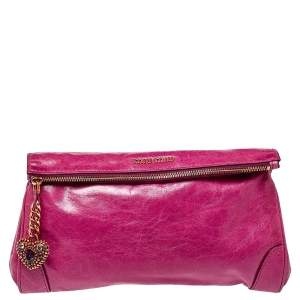 Miu Miu Fuchsia Crinkled Leather Clutch