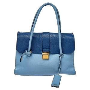 Miu Miu Blue Leather Madras Top Handle Bag