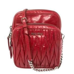 Miu Miu Red Gathered Leather Front Pocket Crossbody Bag