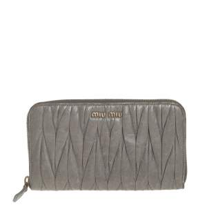 Miu Miu Avocado Green Matelasse Leather Zip Around Wallet