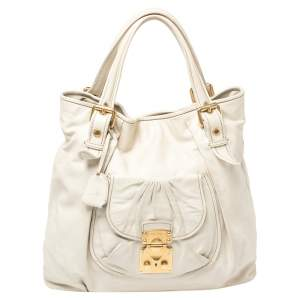 Miu Miu Off White Leather Pushlock Front Pocket Tote