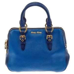 Miu Miu Two Tone Blue Madras Leather Doctor Satchel