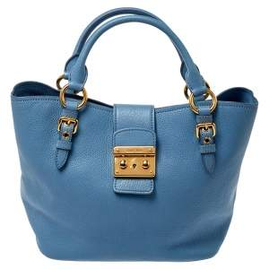 Miu Miu Light Blue Madras Leather Pushlock Tote