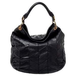 Miu Miu Black Quilted Leather Hobo