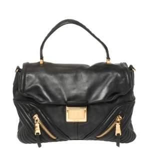 Miu Miu Black Quilted Leather Biker Top Handle Bag