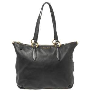 Miu Miu Black Leather Tote Bag