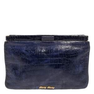 Miu Miu Blue Croc Embossed Patent Leather Frame Clutch