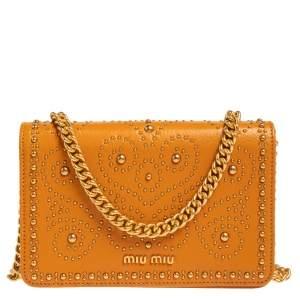 Miu Miu Mustard Yellow Leather Studded Chain Crossbody Bag