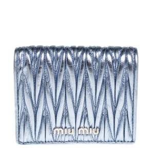 Miu Miu Metallic Blue Matelasse Leather Flap Compact Wallet