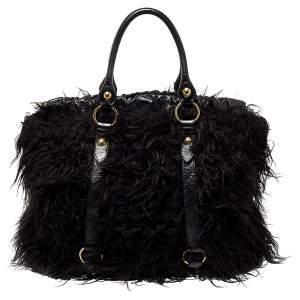 Miu Miu Black Faux Fur And Leather Shoulder Bag