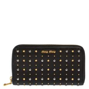 Miu Miu Black Leather Studded Zip Around Wallet