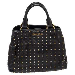 Miu Miu Black Leather Studded Satchel